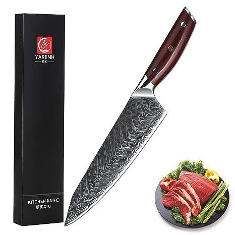 YARENH Cuchillos de Cocina Profesionales 20 cm - Cuchillo de Acero de japoneses Damasco & Mango de Madera Dalbergia,Cuchillo de Chef Profesional ...