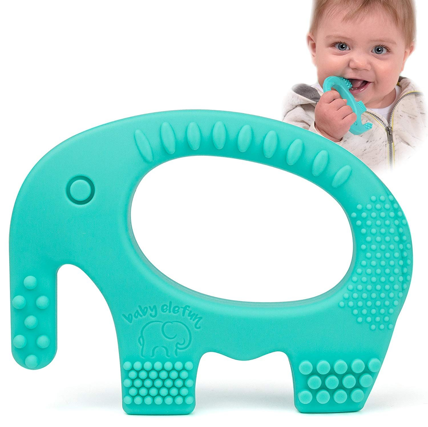 Baby Teething Toys - Adorable Turquoise Silicone Elephant Teether BPA Free - Best for Girl Or Boy Infant Newborn 3 6 12 Months / 1 Year Old Cool Sensory Learning Baby Shower and Easter Gifts Baby Elefun Eleph01