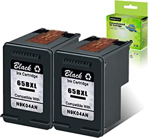GREENCYCLE Remanufactured Ink Cartridge 65XL 65 XL 2 Black Compatible for HP Envy 5055, 5058, 5052, DeskJet 3755 2622 2655 2624 2652 3720 3721 3722 3723 3730 3732 3752 Printer
