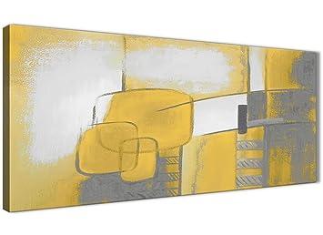 Peinture Abstraite Sur Toile Wallfillers   1419   Jaune Moutarde Et Gris    Décoration De Salon
