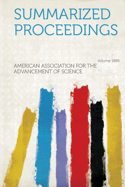 Summarized Proceedings Year 1899 PDF