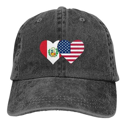 b4a85da2a5d Peru Flag and American Flag Unisex Adult Vintage Denim Adjustable Baseball  Cap Sports Twill Washed Trucker Hat Black at Amazon Men s Clothing store