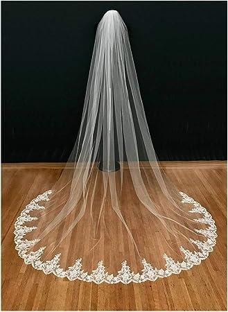 Color : Ivory, Item Length : 300cm 3M Elfenbein Catherdal Brautschleier Lang Mit Einer Schicht Spitze Rand Wei/ß Brautschleier Frauen Hochzeit Zubeh/ör Schleier