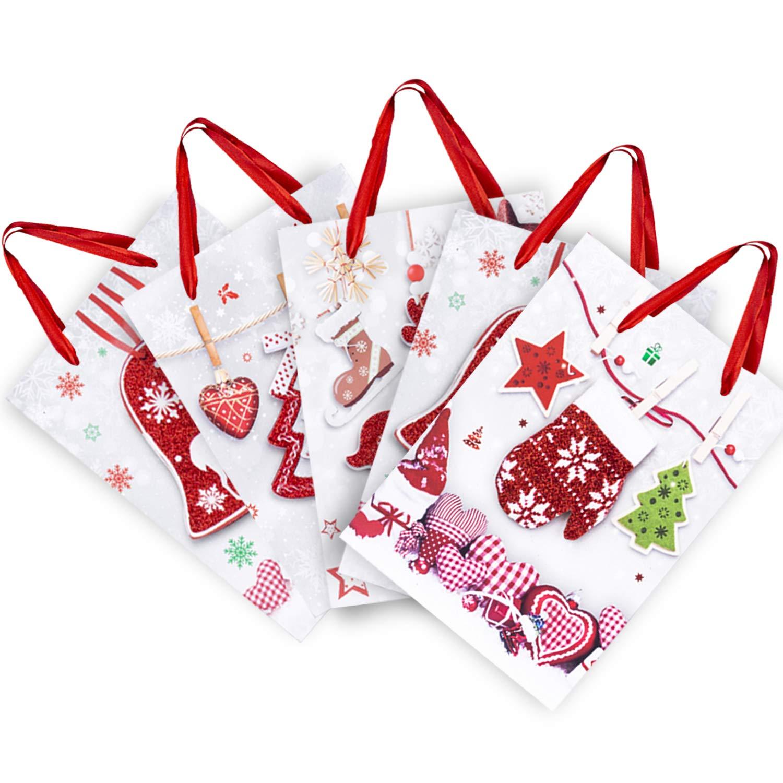 Sacchetti Regali in Carta,19 Pezzi Sacco di Carta con Manico,Borse Decorative per i regali,per il Compleanno e le Feste,Matrimoni