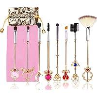 Conjunto de pincéis de maquiagem, 8 peças Magic Wand Girls Moon Cosméticos Escovas Douradas Fofo Sombra Olho Sobrancelha…