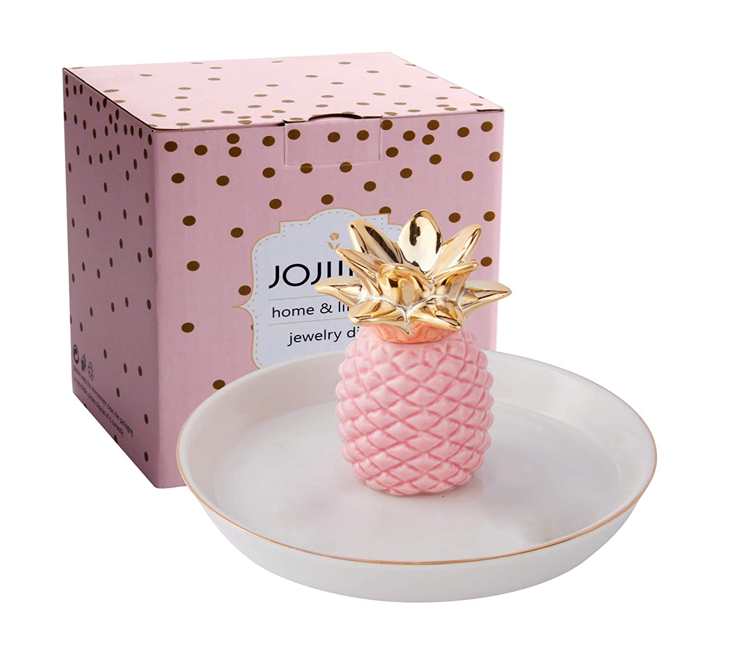 Jojuno Ceramic Ring Jewelry Holder Decor Dish Organizer, Jewelry Tray, Pink Pineapple Jewelry Plate Size 139 x 139 x 84mm 5.47 x 5.47 x 3.3in