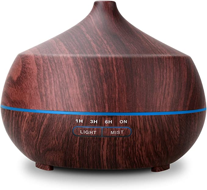 Tenswall Aromatherapy Essential Oil Diffuser, 400ML, with Aroma Cool Humidifier, Adjustable Mist Mode, Auto Shut-Off, 7 Color Changing LED Light for Office Home Baby-Dark Brown
