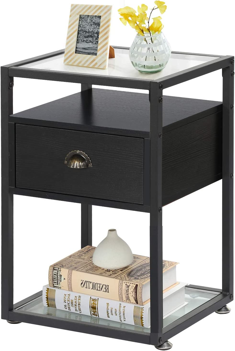 VECELO Modern Side, Nightstand, Tempered Glass End Table, Cabinet with Drawer and Rustic Shelf, Decoration in Living Room,Bedroom,Pure Black
