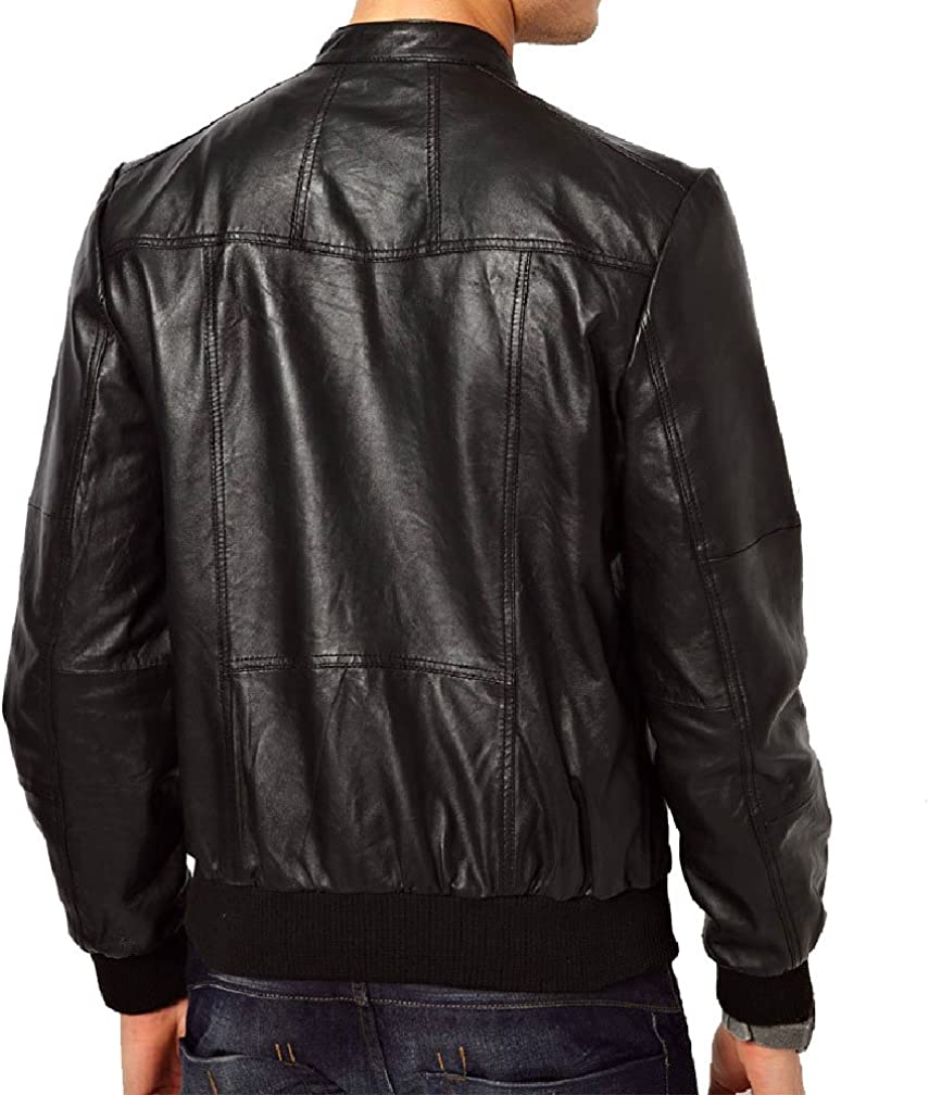 New Mens Genuine Lambskin Leather Slim Fit Biker Motorcycle Jacket for Men T457