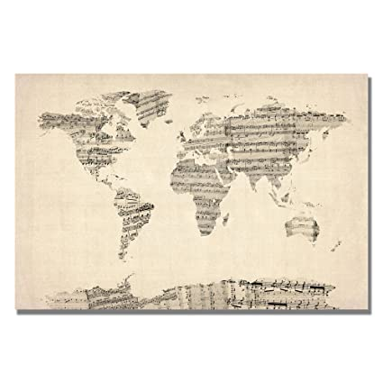 Amazon old sheet music world map artwork by michael tompsett old sheet music world map artwork by michael tompsett 18 by 24 inch canvas gumiabroncs Image collections