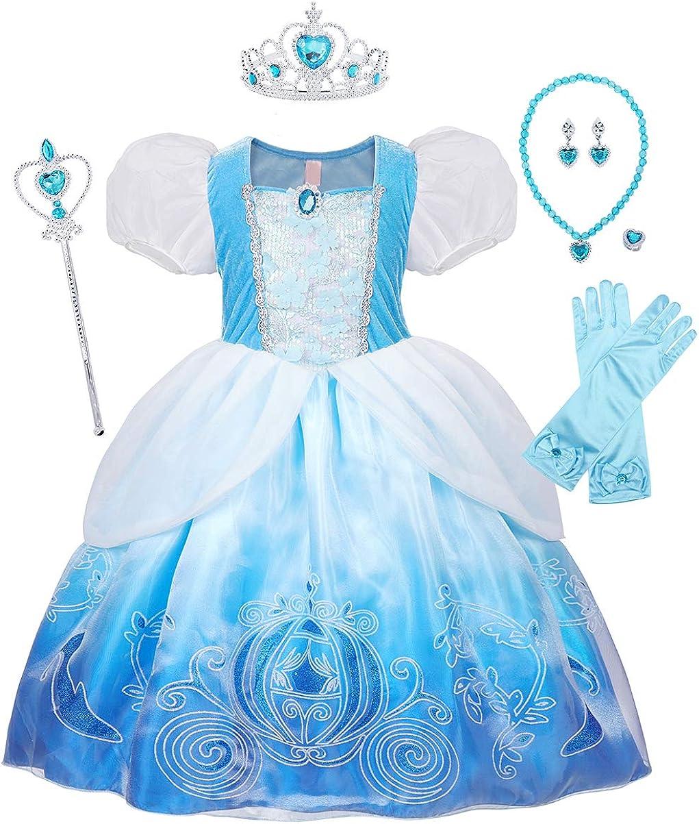 Jurebecia Vestido de Princesa Capa Disfraces De Niñas Traje Fiesta De Cumpleaños De Halloween Carnaval Cosplay Fiesta de Vestir Disfraces con Accesorios Set Azul