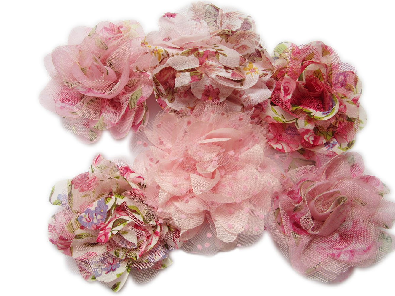 YYCRAFT 10 pcs Pink Floral Print Chiffon Flower for Kids Girls Headband Baby Flowers Bows,Crafts,Party Decoration(3.5'')