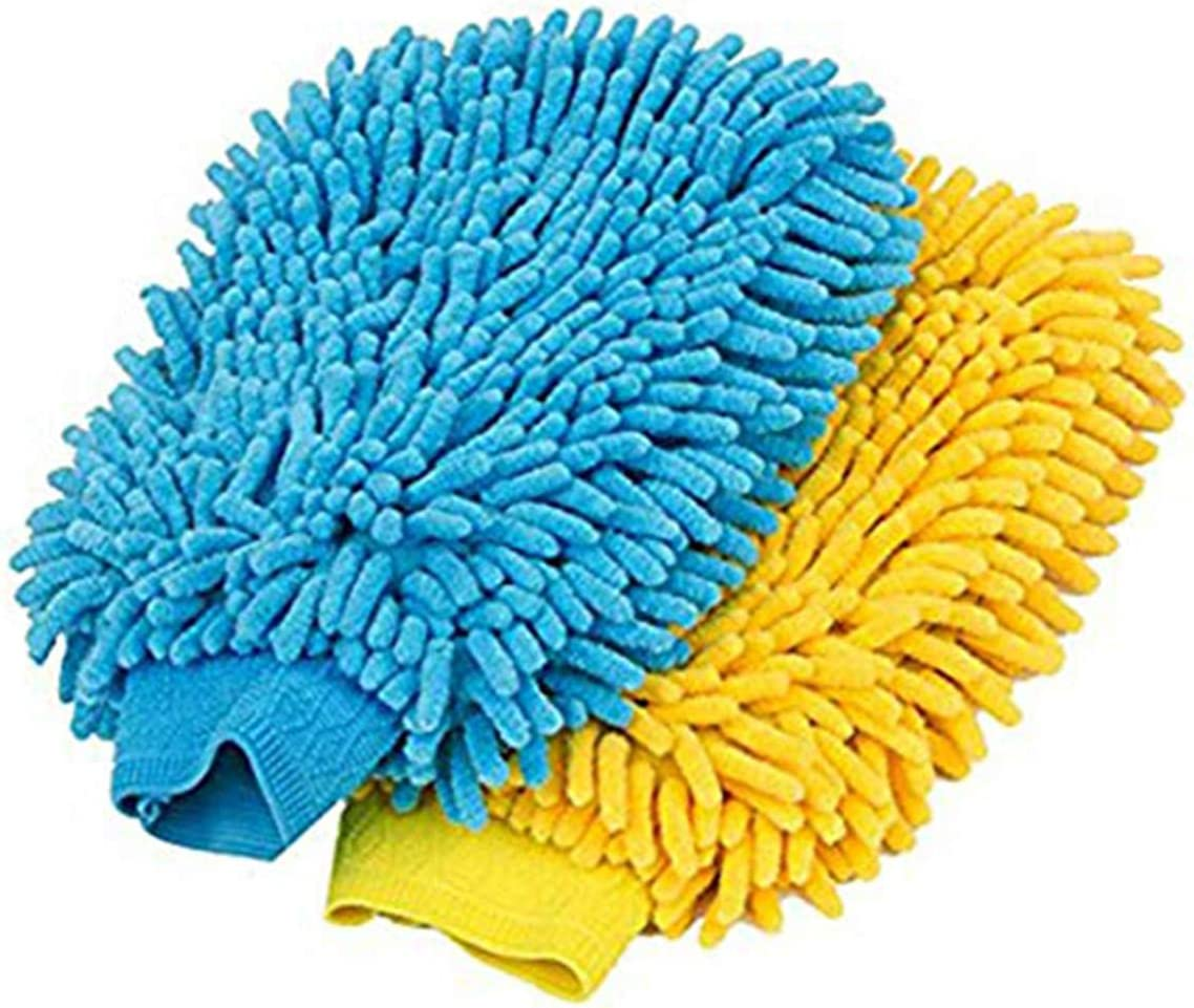 2pcs Cheng Kui Premium Microfiber Double Side Waterproof Car Wash Gloves Blue