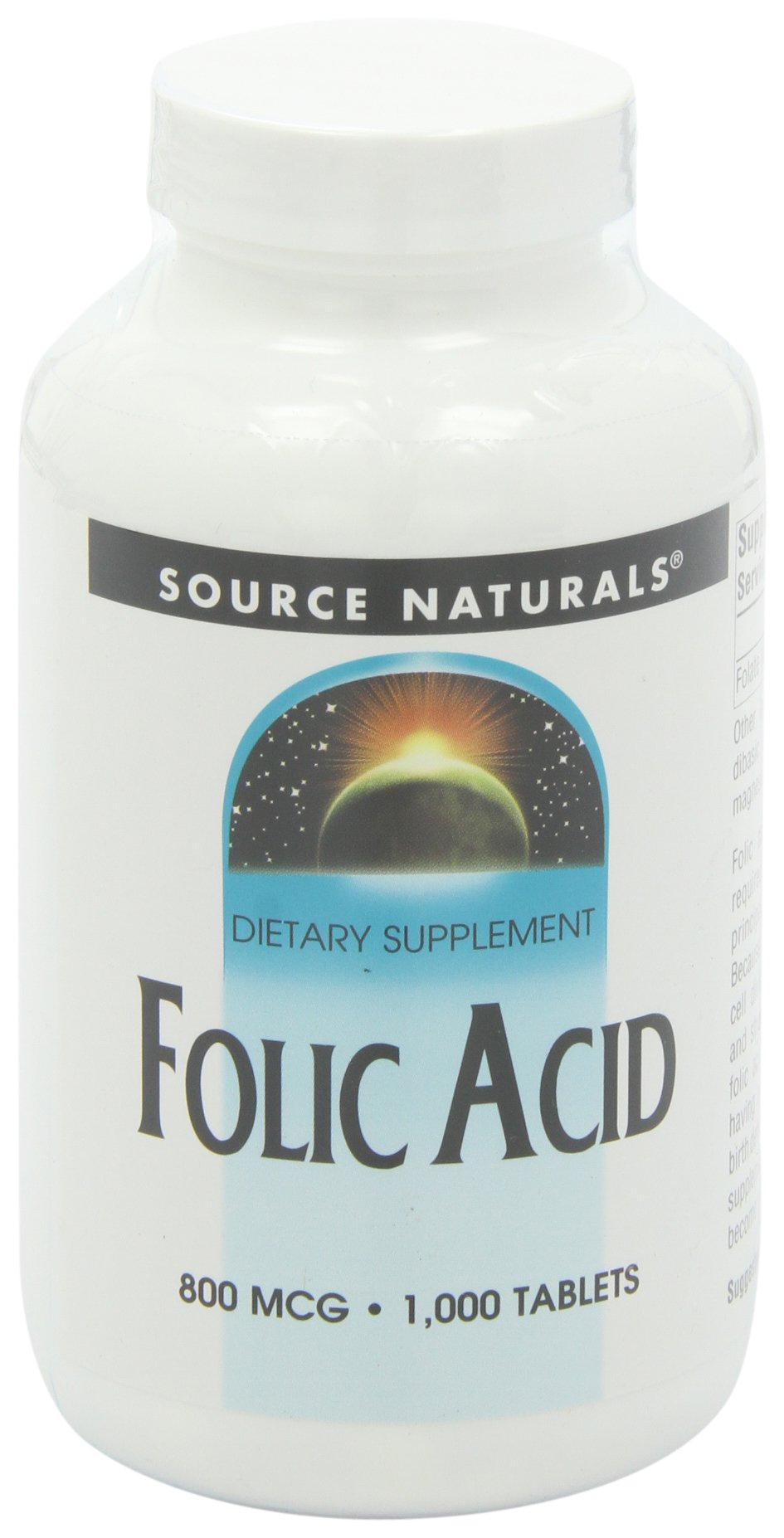 Source Naturals Folic Acid, 800mcg, 1000 Tablets (Pack of 2) by Source Naturals