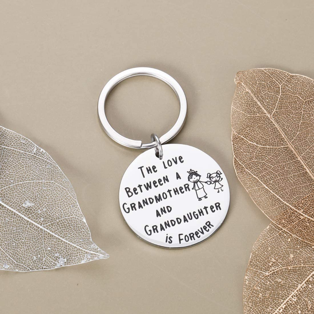 Grandma Gifts Keychain from Granddaughter Grandkids Baby Inspirational Jewelry Presents for Grandmother Mothers Family Birthday Thanksgiving Christmas Day