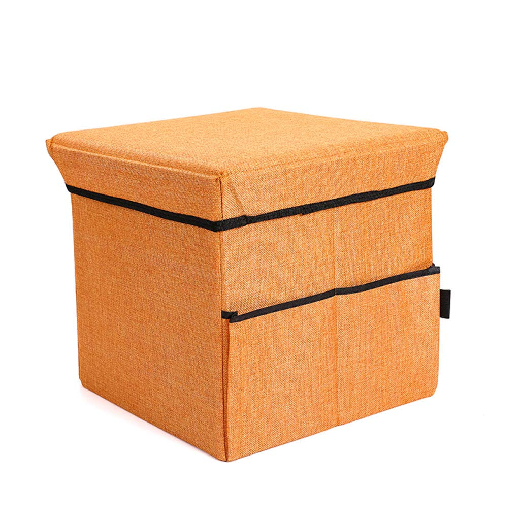 orange L38xW38xH36cm NJ Storage stool Multifunctional Creative Folding Storage Stool, Living Room Bedroom Foyer Can Sit Stool Storage Finishing Stool (color   Yellow, Size   L31xW31xH31cm)