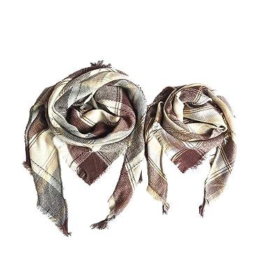 21958f857bec kingwo 2Pcs Parent-child plaid scarf Grand foulard carré à carreaux  multicolores Foulard Triangle Foulard (Beige)  Amazon.fr  Vêtements et  accessoires