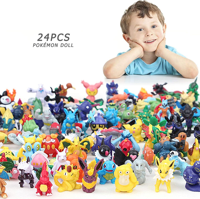 Yisscen Ensemble de Jouets Pokemon Pok/émon Mini Figures Bracelets Autocollants Action Figurines pour Enfants et Adultes F/ête danniversaire 38Pcs