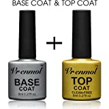 Vrenmol Soak Off UV LED Gel Nail Polish Base Coat and No Wipe Top Coat Kit Set 8ml
