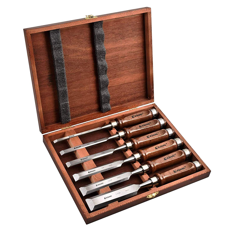 EZARC 6pc Wood Chisel Set for Woodworking - CRV Steel with Black Walnut Handle in Wood Storage Box ... by EZARC