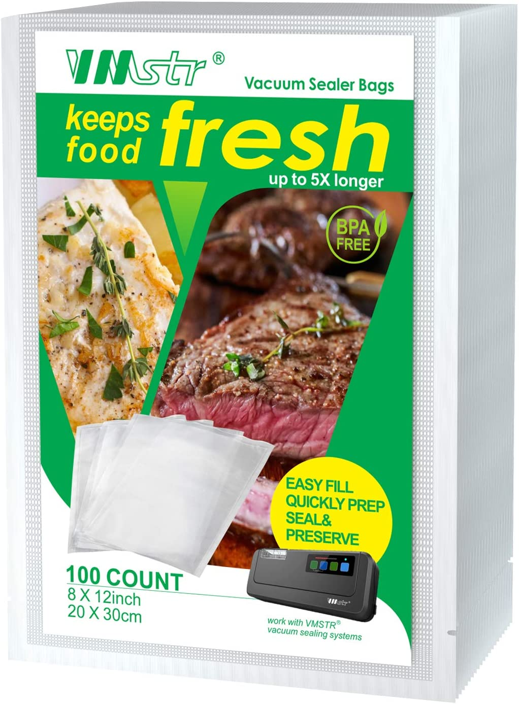 VMSTR Vacuum Sealer Bags 100 Quart 8x12 Inch for Food Saver, Seal a Meal,Commercial Grade, BPA Free, Heavy Duty, Great for vac storage, Meal Prep or Sous Vide