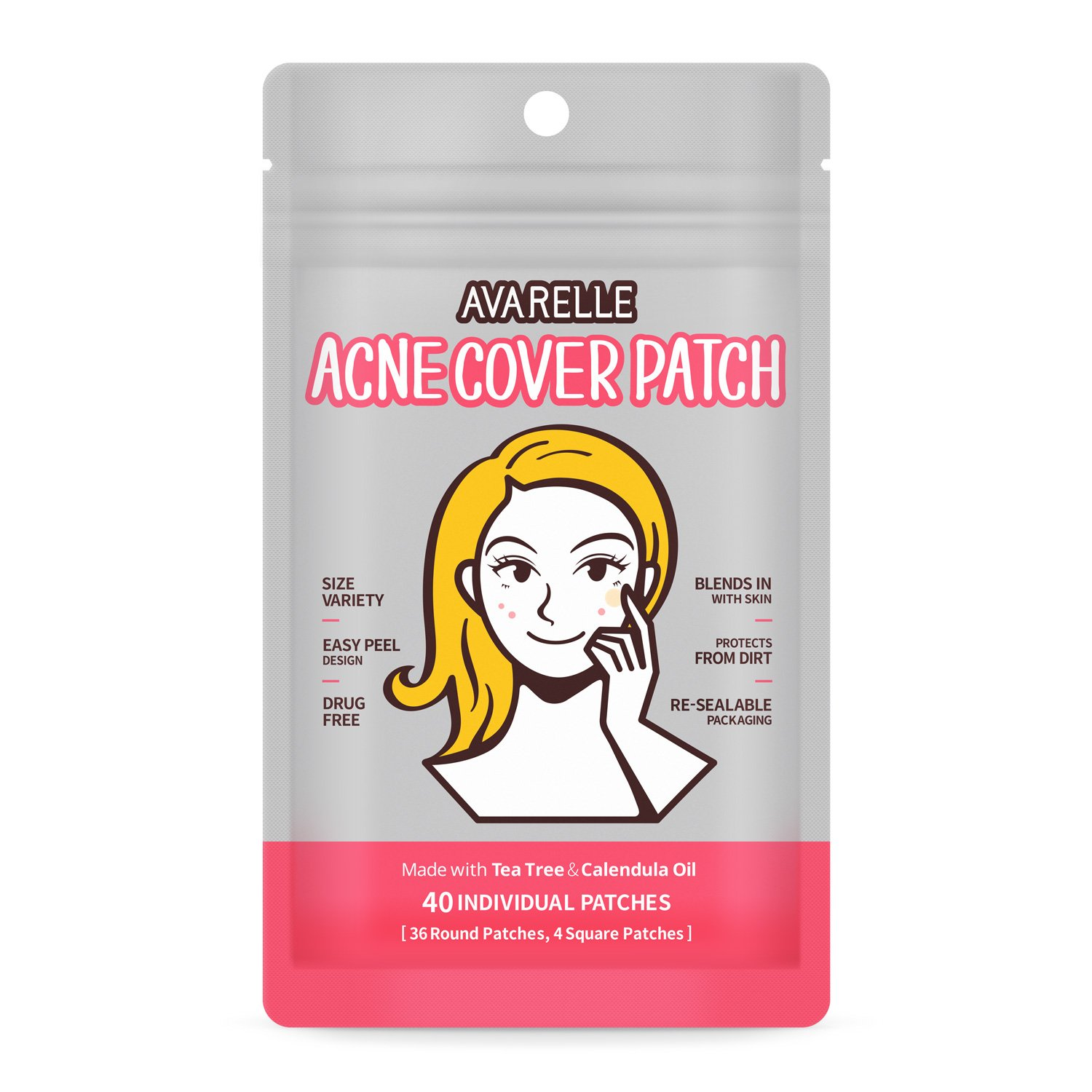 Acne Care Pimple Spot Patch Hydrocolloid Absorbing Cover With Tea Tree & Calendula Oil (40 Count)