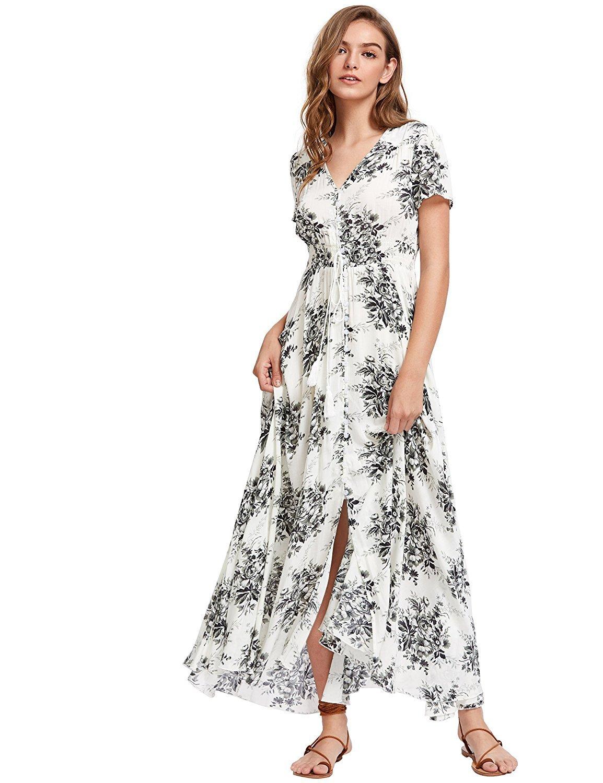 fe3076bba45 Milumia Women s Button up Split Floral Print Flowy Party Maxi Dress  XX-Large White-3 - 160902474D5-XXL   Dresses   Clothing