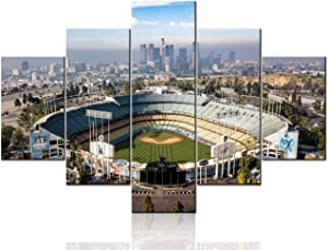 TUMOVO Native American Decor Dodger Stadium Pictures Downtown LA Paintings 5 Pcs/Multi Panel Canvas Wall Art Artwork Home Decor for Living Room Framed Ready to Hang Posters and Prints - 60''Wx40''H