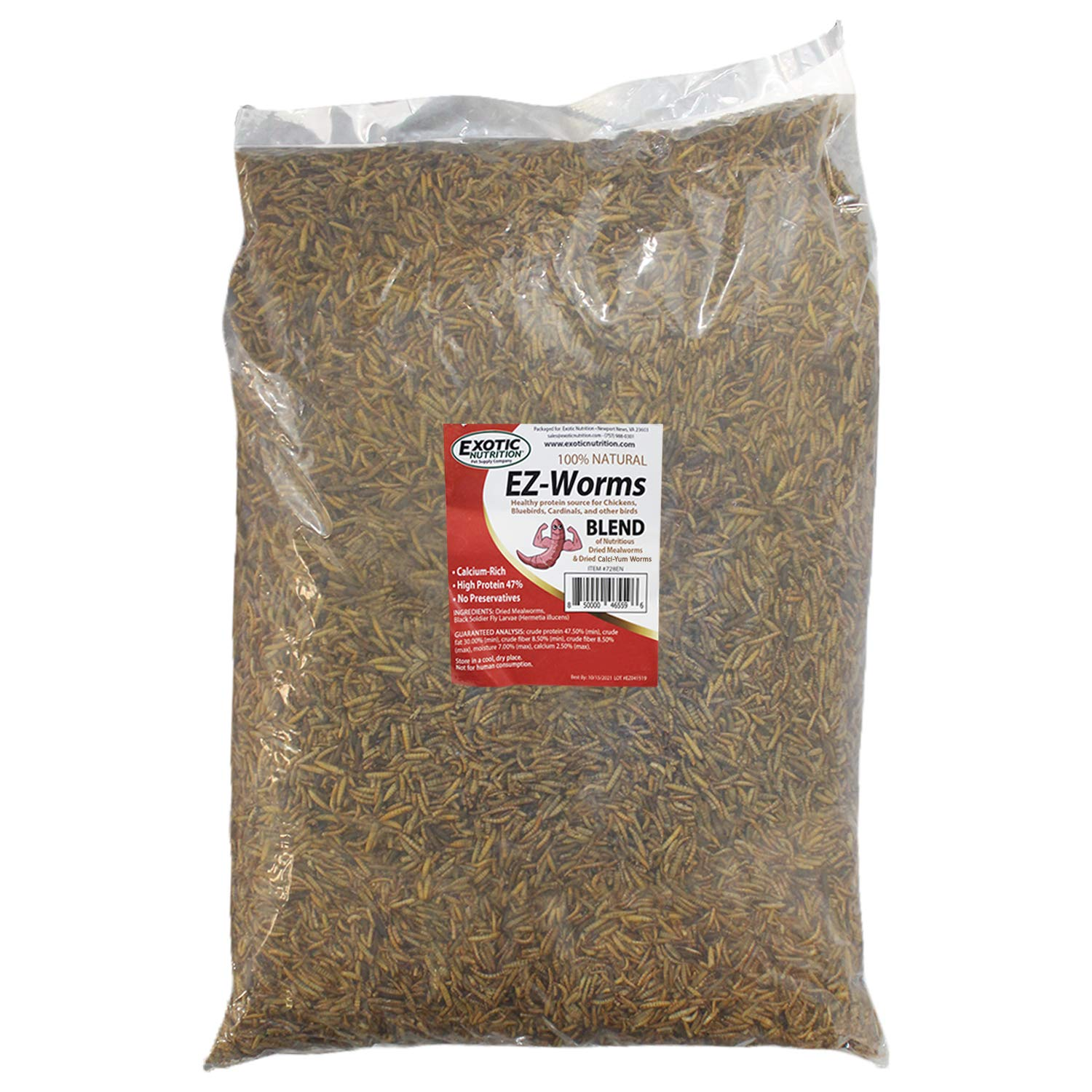 EZ-Worms (10 lb) - Blend of Dried Mealworms & Black Soldier Fly Larvae (BSFL) - Healthy Insect Treat - Chickens, Bluebirds, Sugar Gliders, Hedgehogs, Squirrels, Skunks, Reptiles, Turtles, Fish by Exotic Nutrition