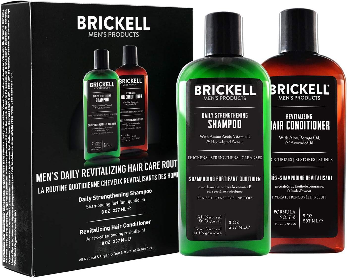 Brickell Men's Products – Rutina Revitalizadora de Cuidado Capilar – Champú con Aceites de Menta y Árbol de Té + Acondicionador Fuerza y Volumen - Natural y Orgánico