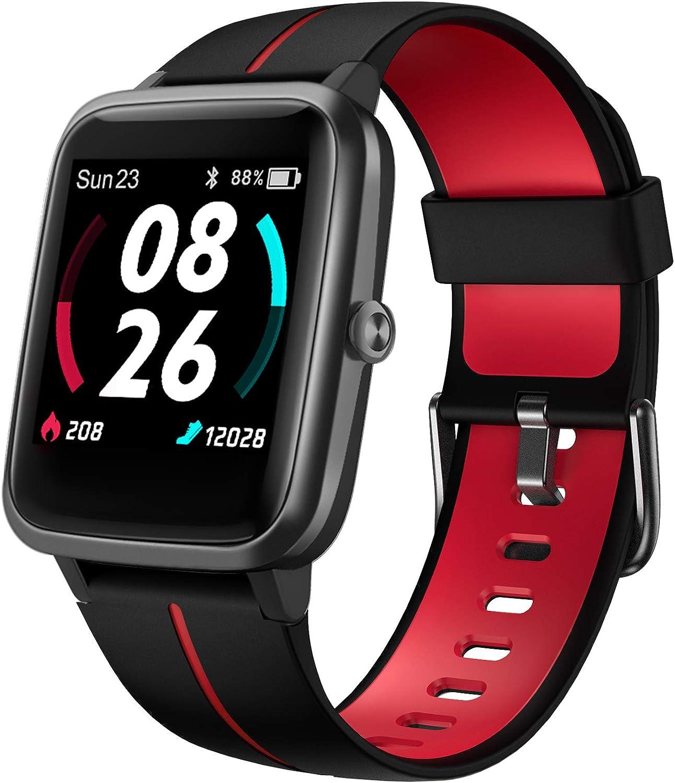 LIFEBEE Smartwatch, Reloj Inteligente Impermeable IP68 para Hombre Mujer, Pulsera Actividad Inteligente con Pulsómetros, Monitor de Sueño, Podómetro Reloj Deportivo para Android iOS (Rojo)