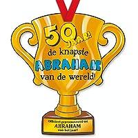 trofee 50 jaar de knapste Abraham 33 cm karton goud