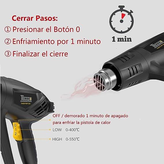 Pistola de Aire Caliente, TECCPO 2000W 240V, 3 Temperatura (50℃- 550℃), Máximo Flujo de Aire 500L/min, 1-Min de Función innovadora de Enfriamiento, ...