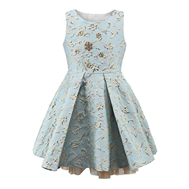 childdkivy Girls Princess Party Dress for 3-4 Years Old Light Blue Size 4 R1625
