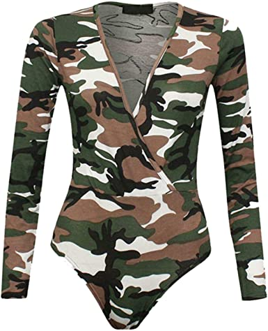 NEW WOMENS LADIES LONG SLEEVE FLORAL PRINT PLUNGE V NECK WRAP OVER BODYSUIT TOP