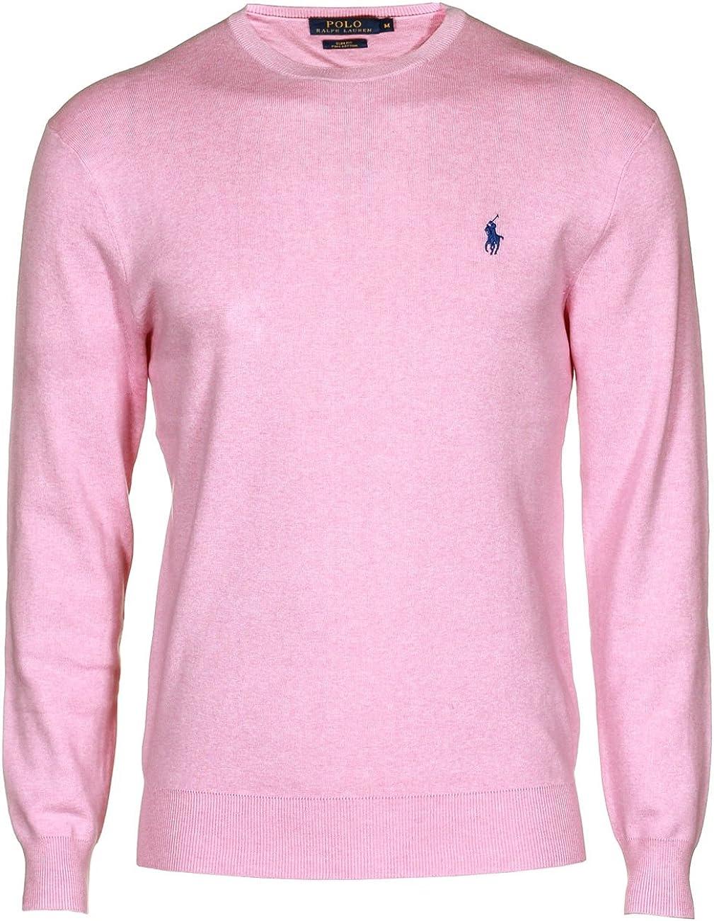 Polo Ralph Lauren cuello redondo de punto algodón Pima rosa ...