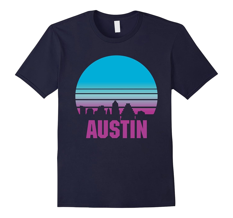 Austin City Skyline Sunset TShirt Texas TX Vintage Retro Tee-FL