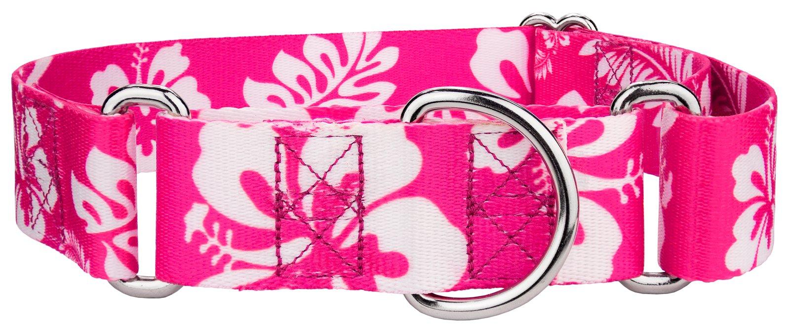 Country Brook Petz 1 1/2 Inch Pink Hawaiian Martingale Dog Collar - Medium