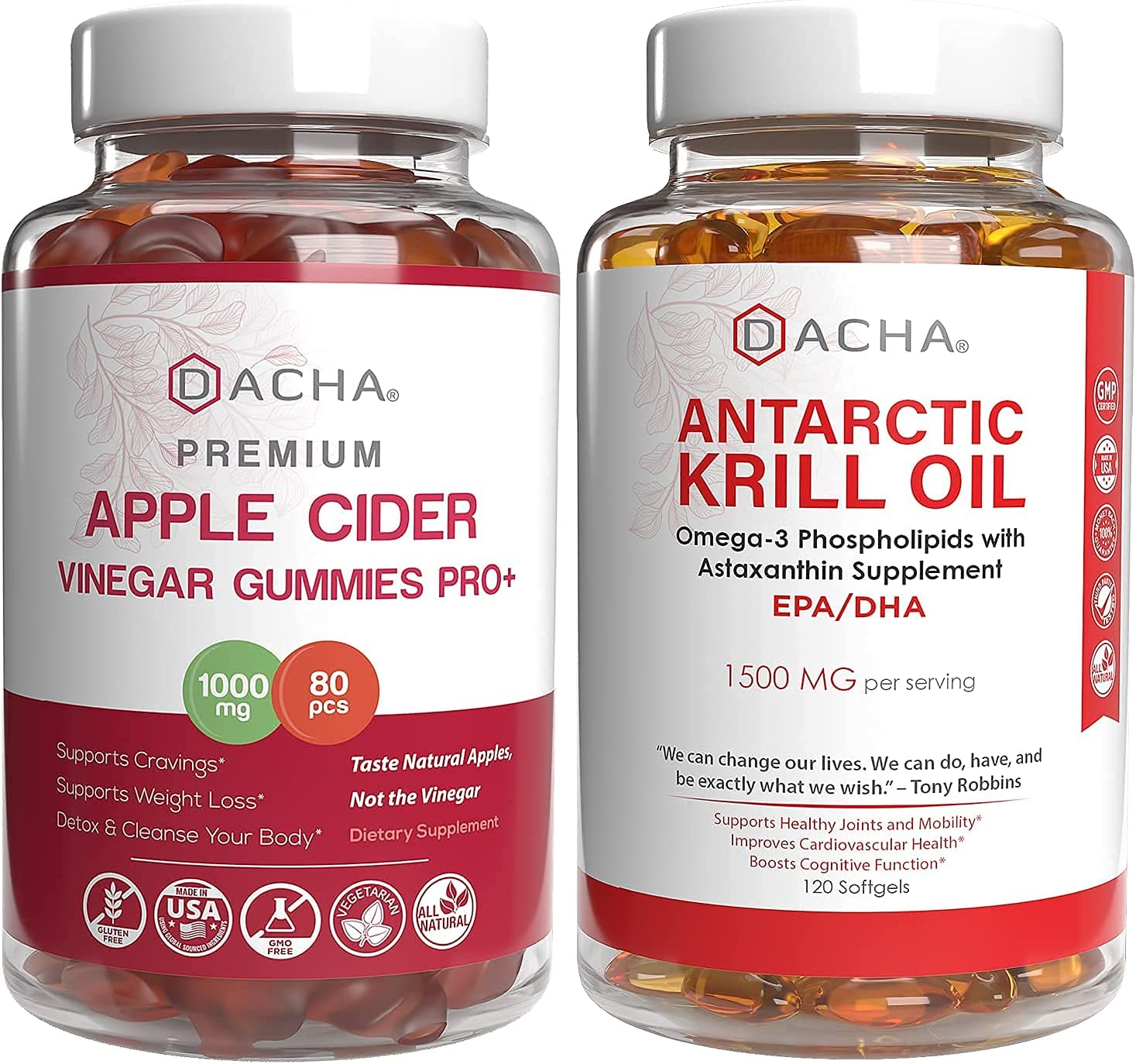 2x Advanced Immunity Detox Bundle - Apple Cider Vinegar & Krill Oil, Natural Ultra Absorption Supplements, ACV With Mother, Astaxanthin Standard EPA DHA, For Heart Health, Joint Relief, Immune Support