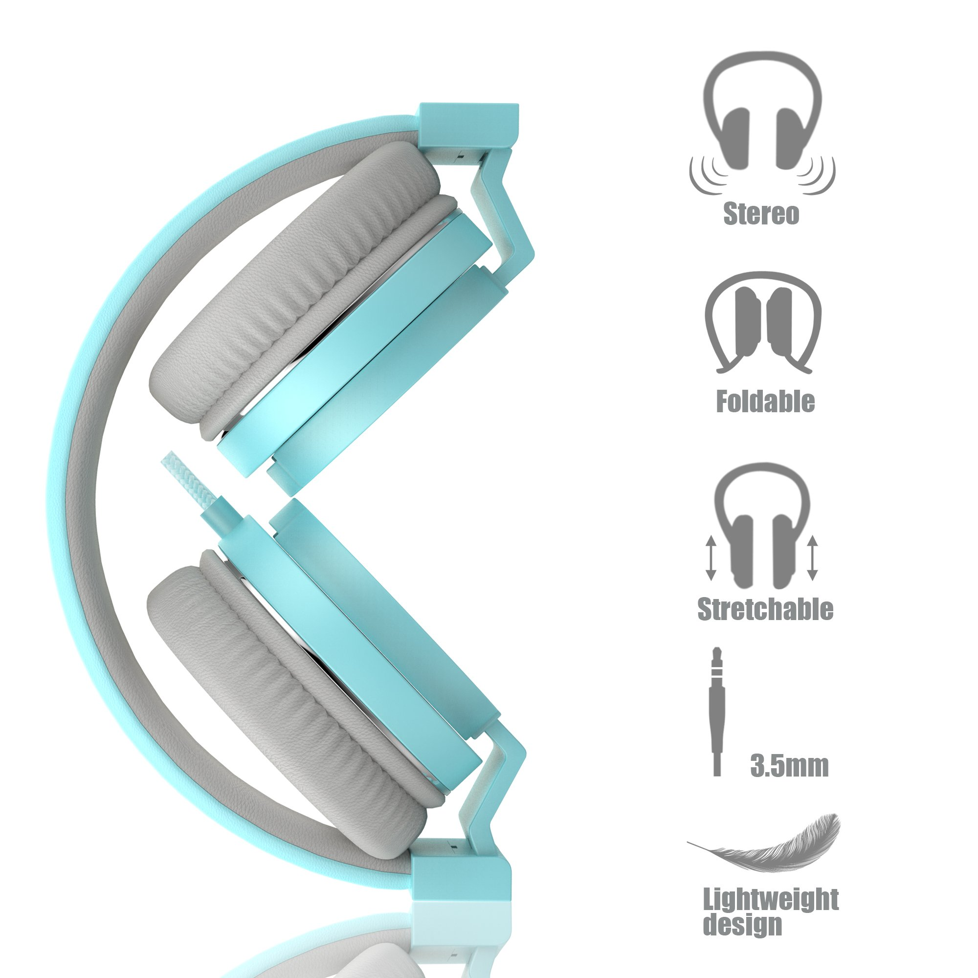 Wired Portable Headsets, Foldable Headphones with Microphone and Volume Control On Ear Headphones for iPhone iPad Android Smartphones Laptop Tablet for Kids or Adults by Vomach (Image #3)