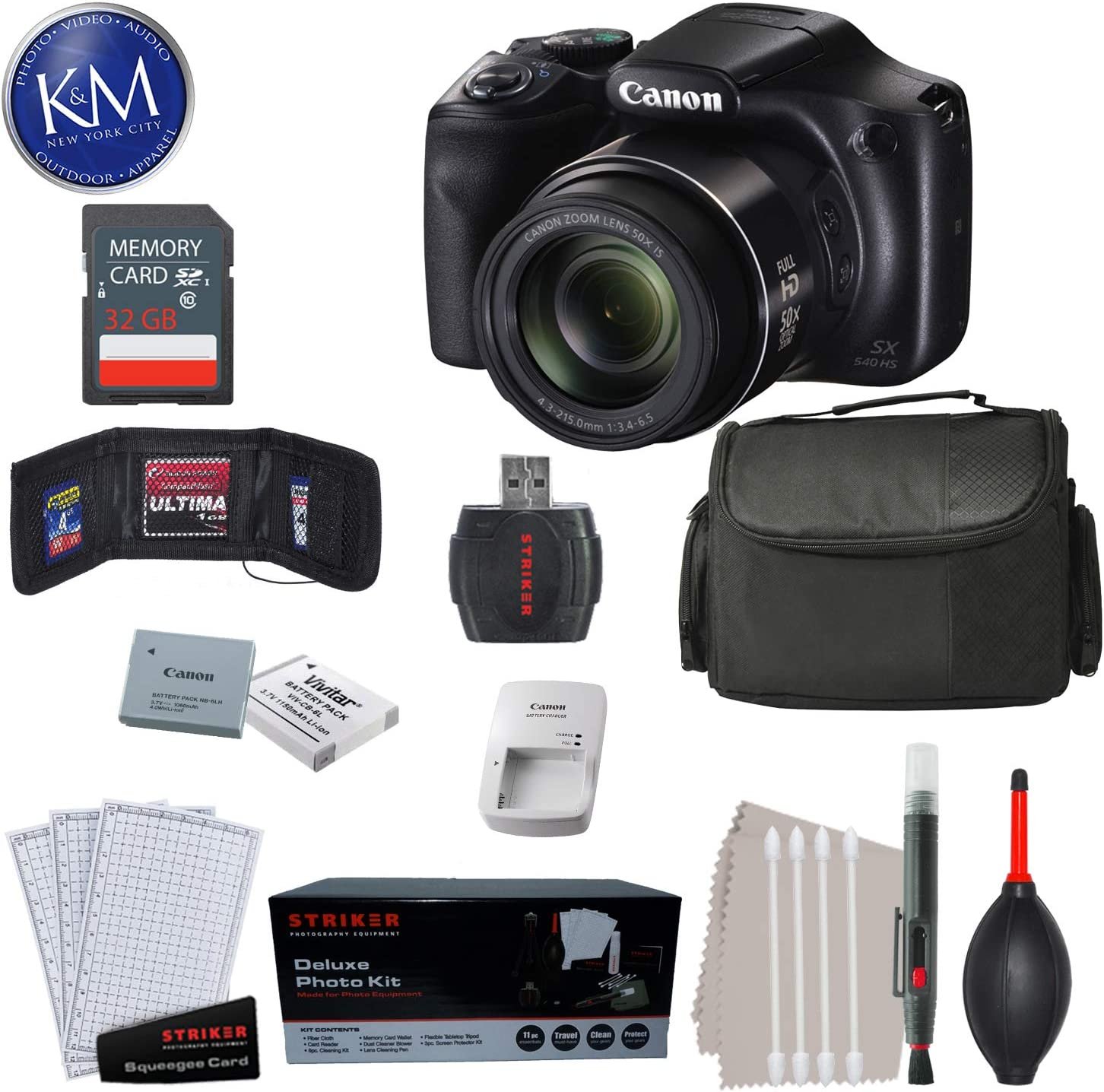 Canon PowerShot SX540 HS Digital Camera + 32GB SD Card & K&M Premium Bundle
