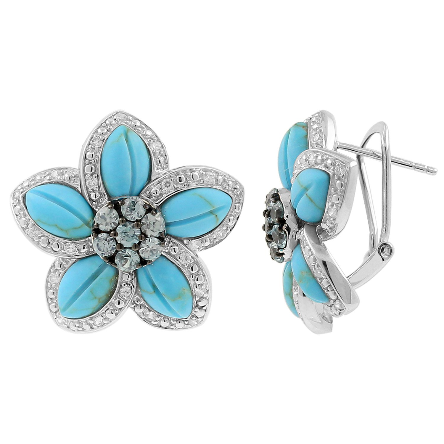 Blue Turquoise and Zirconium Cluster Floral Earring in 925 Silver