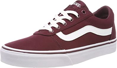Vans Girls Low-Top Sneaker, Red Canvas