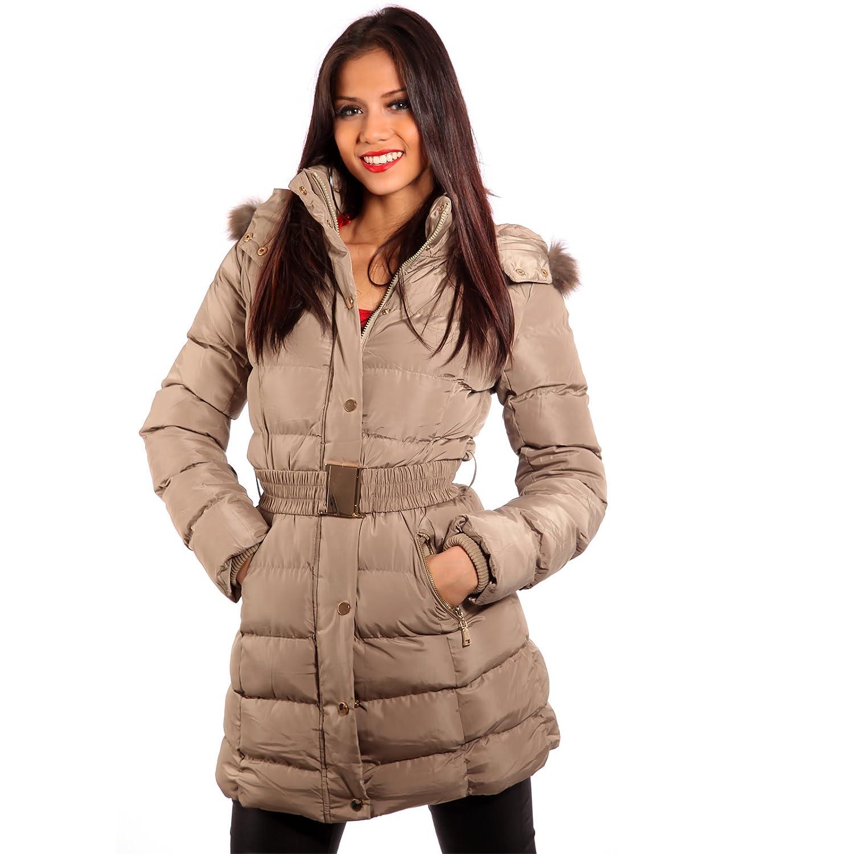 Young Fashion Winter Kapuzen Steppjacke Parka Outdoorparka Gürtel