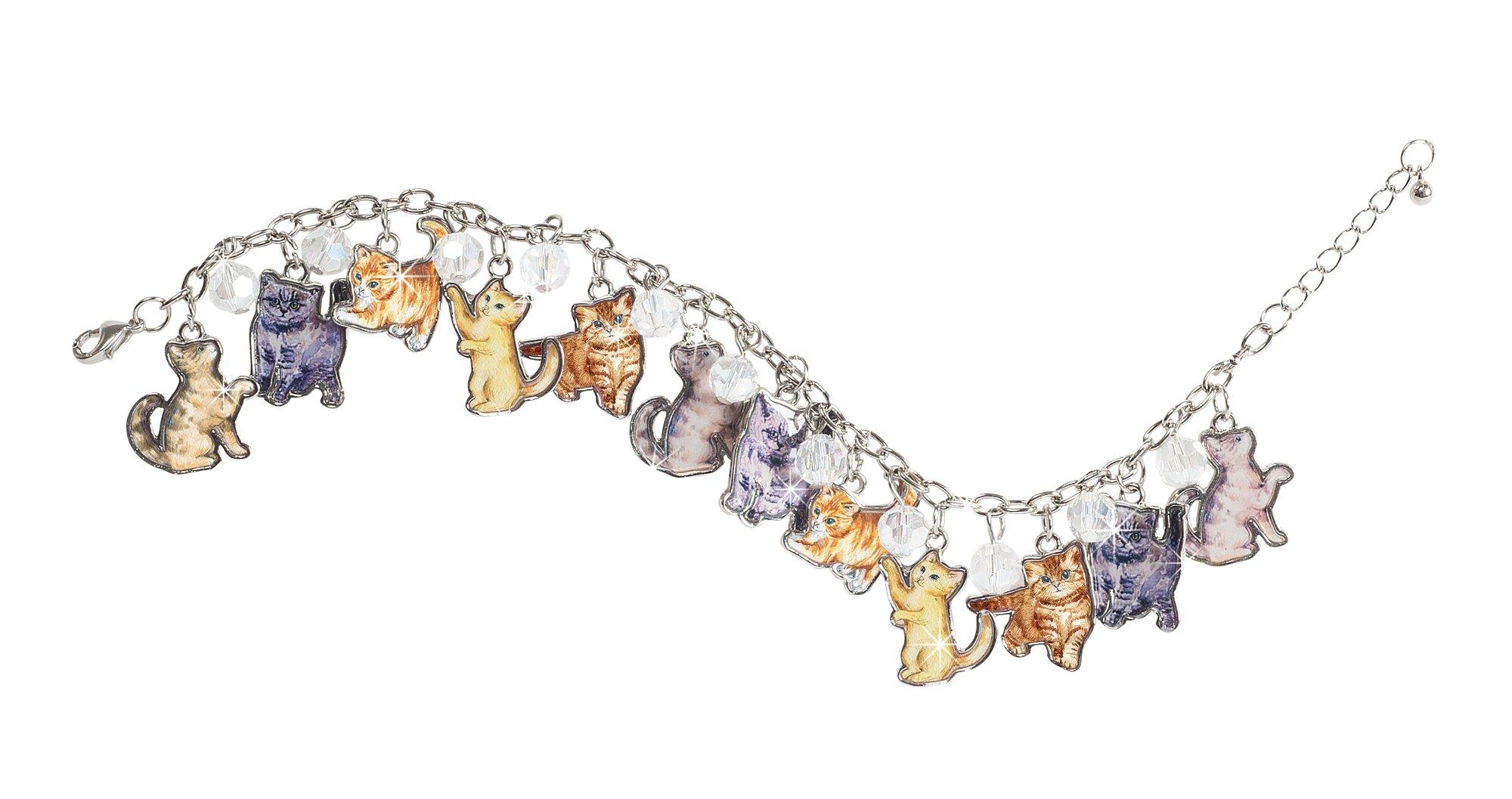 The Paragon Women's Bracelet - Cat Lovers Charm Bracelet, Playful Kitty Adjustable Link Jewelry