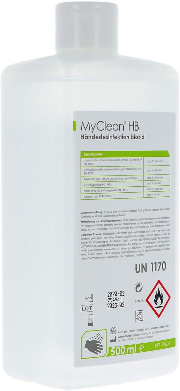 Myclean Handdesinfektion HB biozid 79606 Desinfektionsgel 0.5l: Amazon.es: Salud y cuidado personal