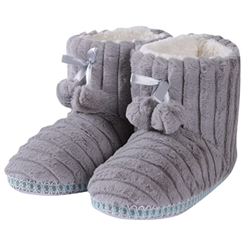 78f74ef247f1 Forfoot Woman s Girl s Winter Warm Cozy Knit Fashion Indoor Bedroom House  Ankle Boot Slippers Light Grey