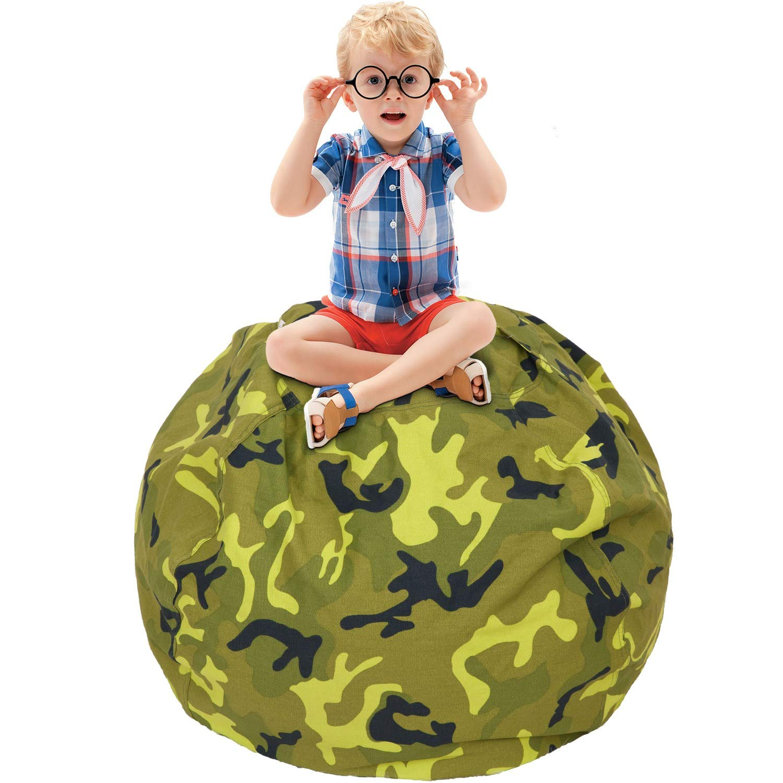 CALA Stuffed Animal Storage Bean Bag Chair- EXTRA LARGE 38'' Kids Soft Toy Storage - 100% Cotton Canvas Bean Bag Chair(Army Green)