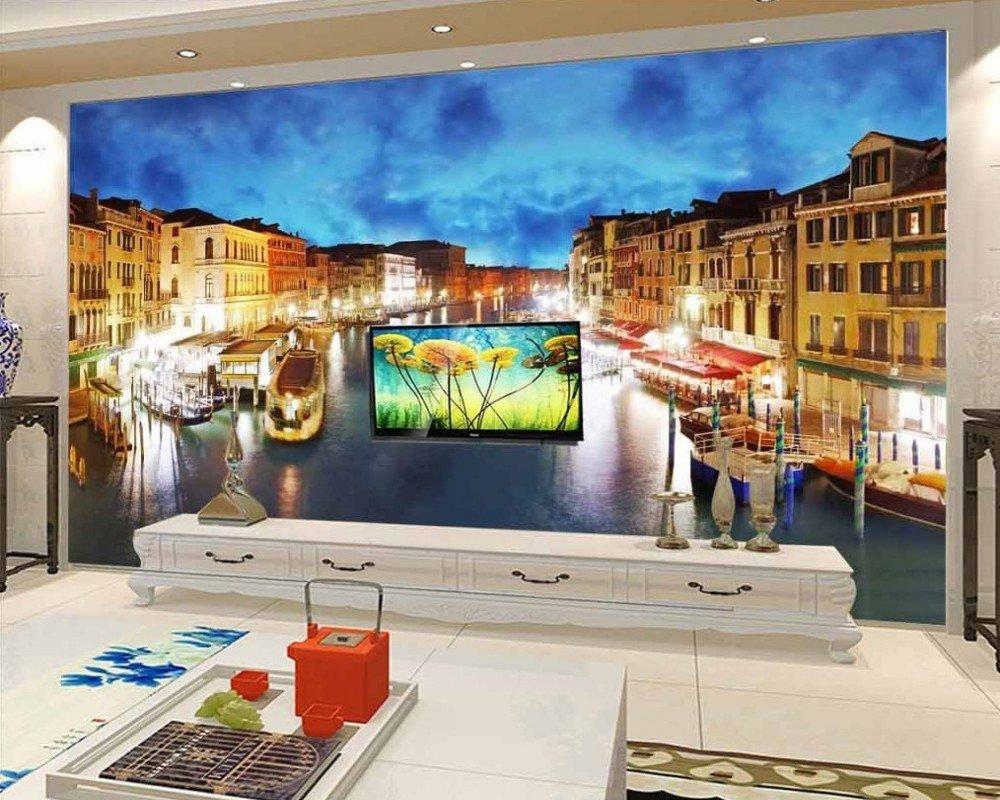 壁紙 3D Mural City Twilight Architectureテレビソファムラルホテル写真壁画リビングルームベッドルームの壁紙 カスタマイズサイズ シルク生地 Wapel 370X240Cm(145.67X94.49 In) B07DHQ1PHR 370x240cm(145.67x94.49 in)