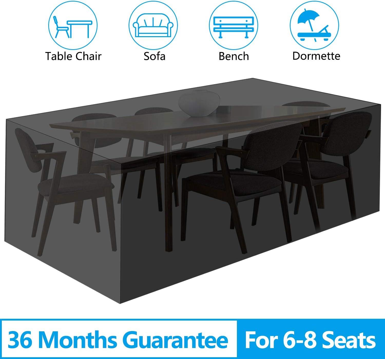 "EEEKit Patio Table and Chair Covers, 210D Rectangular Patio Table Cover, Patio Furniture Cover, Tear-Resistant, UV Resistant, Durable Waterproof Dustproof Outdoor Cover for Garden 83.86""x51.97""x29.13"""
